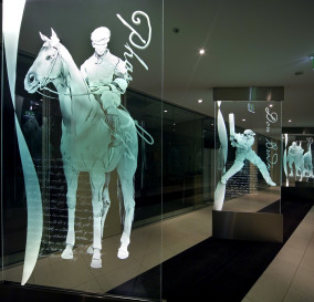 BESPOKE EDGE-LIT FLOOR TO CEILING GLASS GRAPHICS - CORPORATE TECHNOLOGY FACILITY SYDNEY